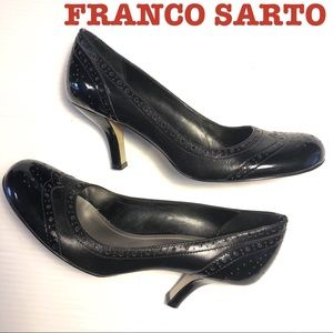 Franco Sarto SeeSaw round toe black heels 7.5